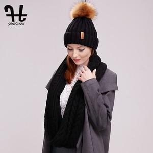 Image 5 - FURTALK 冬ビーニー帽子とスカーフセット女性の秋だらしない帽子インフィニティスカーフ帽子ニット Skullies ビーニー帽子のための女の子