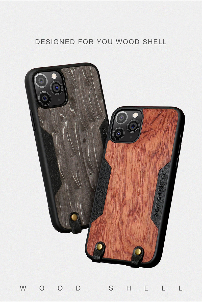 Solid Wood Crossbody Shoulder Strap Full Cover Lanyard Wooden Case for iPhone 12 Pro Max