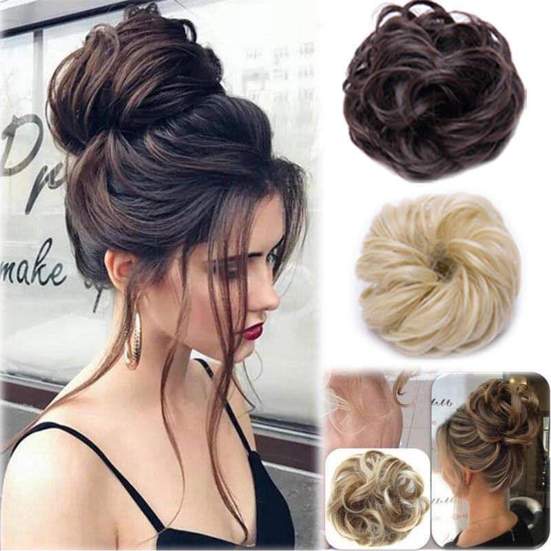Brand New Fashion Curly Messy Bun Hair Piece Scrunchie Updo Cover Hair Extensions Real As Human