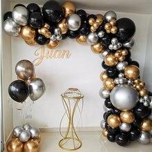 110 pçs chrome prata ouro balões arco kit balão preto guirlanda casamento aniversário decoração da festa havaiana crianças chuveiro do bebê globos