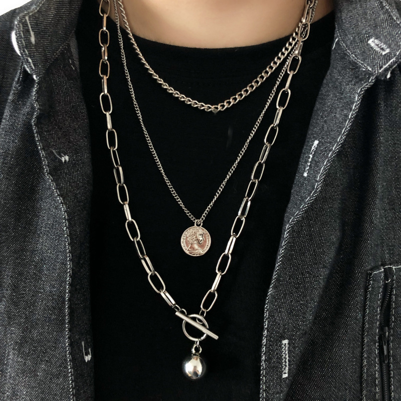 New Trendy Metal Ball Coin Cross Pendant Multi layer Punk  Design Long Chain Necklace For Women men Jewelry Gifts
