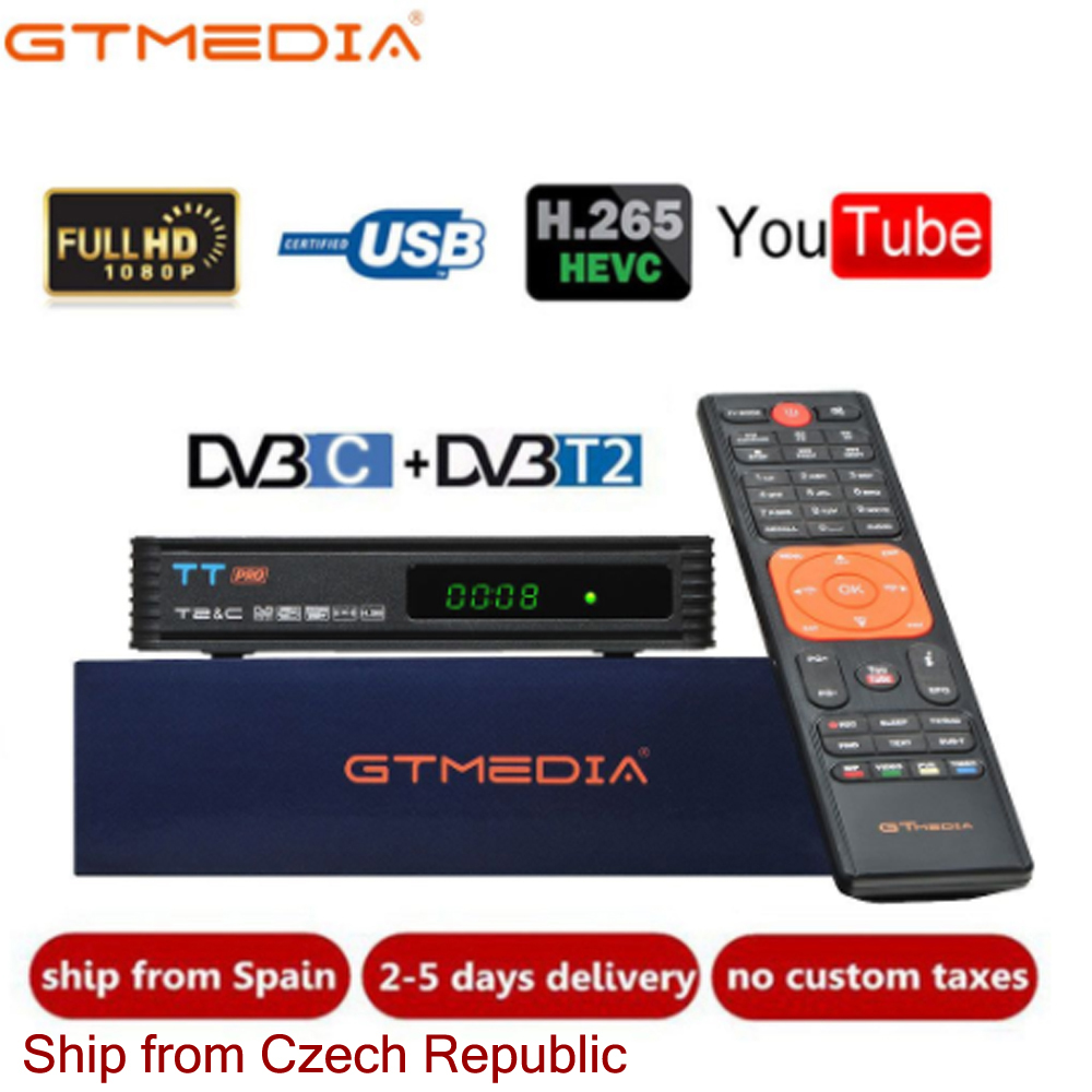 DVB T2 GTMEDIA TT Pro DVB-C DVB-T2/T Tunner TV Combo спутниковый приемник Поддержка H.265 декодер для телевизора из Европы, Испании, Италии