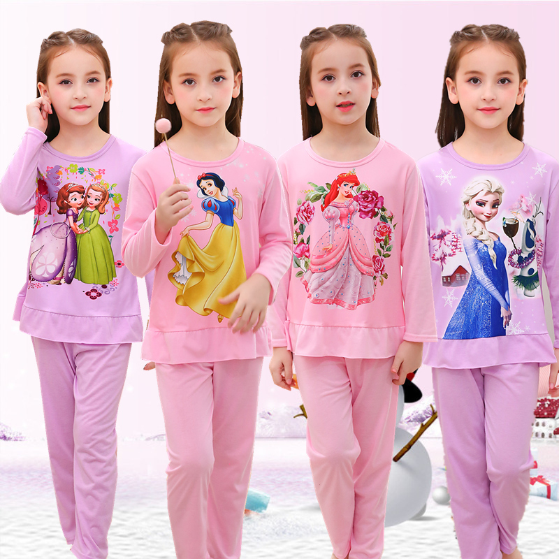 Kids Girls Pyjamas Clothes Sets Elsa Anna Cartoon Autumn Nightwear Baby Sleepwear Teenage Children Homewear Pajamas Suits 3-13Y