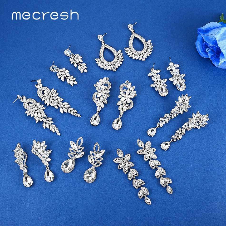 Mecresh ยุโรปใบต่างหู Long DROP สำหรับผู้หญิง Silver สีคริสตัลแขวนต่างหูเครื่องประดับหมั้น MEH946
