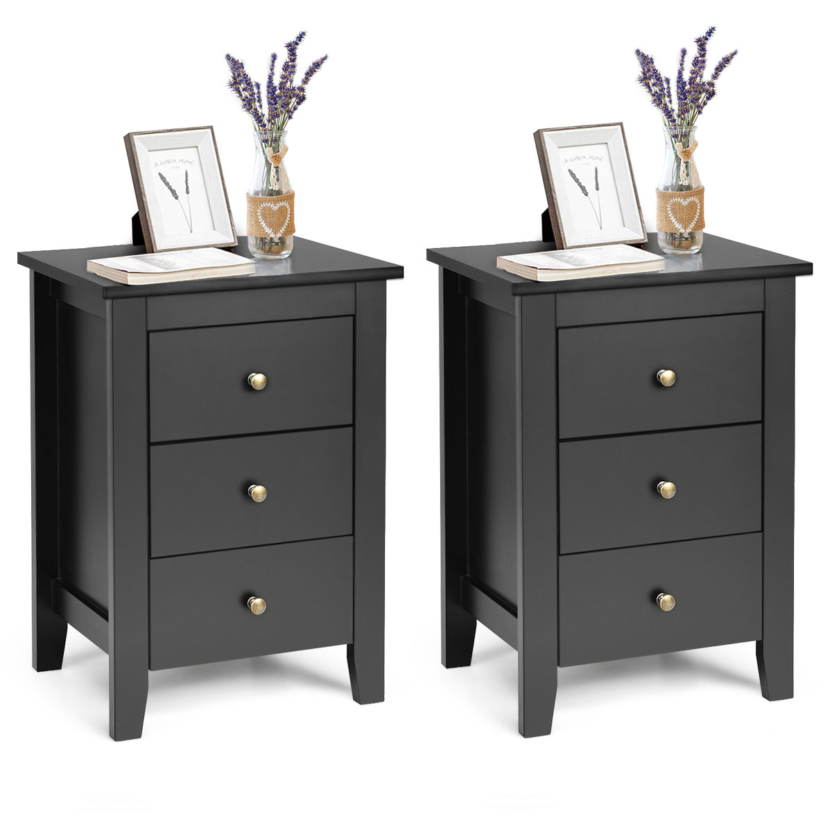 Costway Set Of 2 Nightstand End Beside Sofa Table W/ 3 Drawers Bedroom Furniture Black