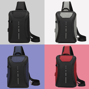 Anti theft Mens Shoulder Bag Casual Crossbody Bags for Men Waterproof USB Charge Sling Messenger Bag iPad Chest Pack Male