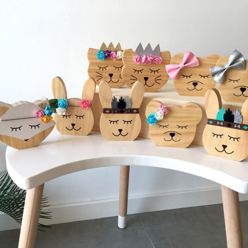 Nursery Decoration Wooden Animals Ornament For Children Room Photography Props K1KC