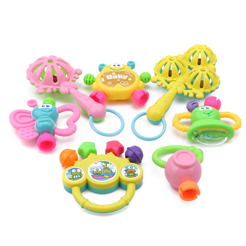 7pcs/Lot Infant Baby Toys Rattles Newborn Baby Hand Bell Developmental ABS Baby Toys 0-12 Months