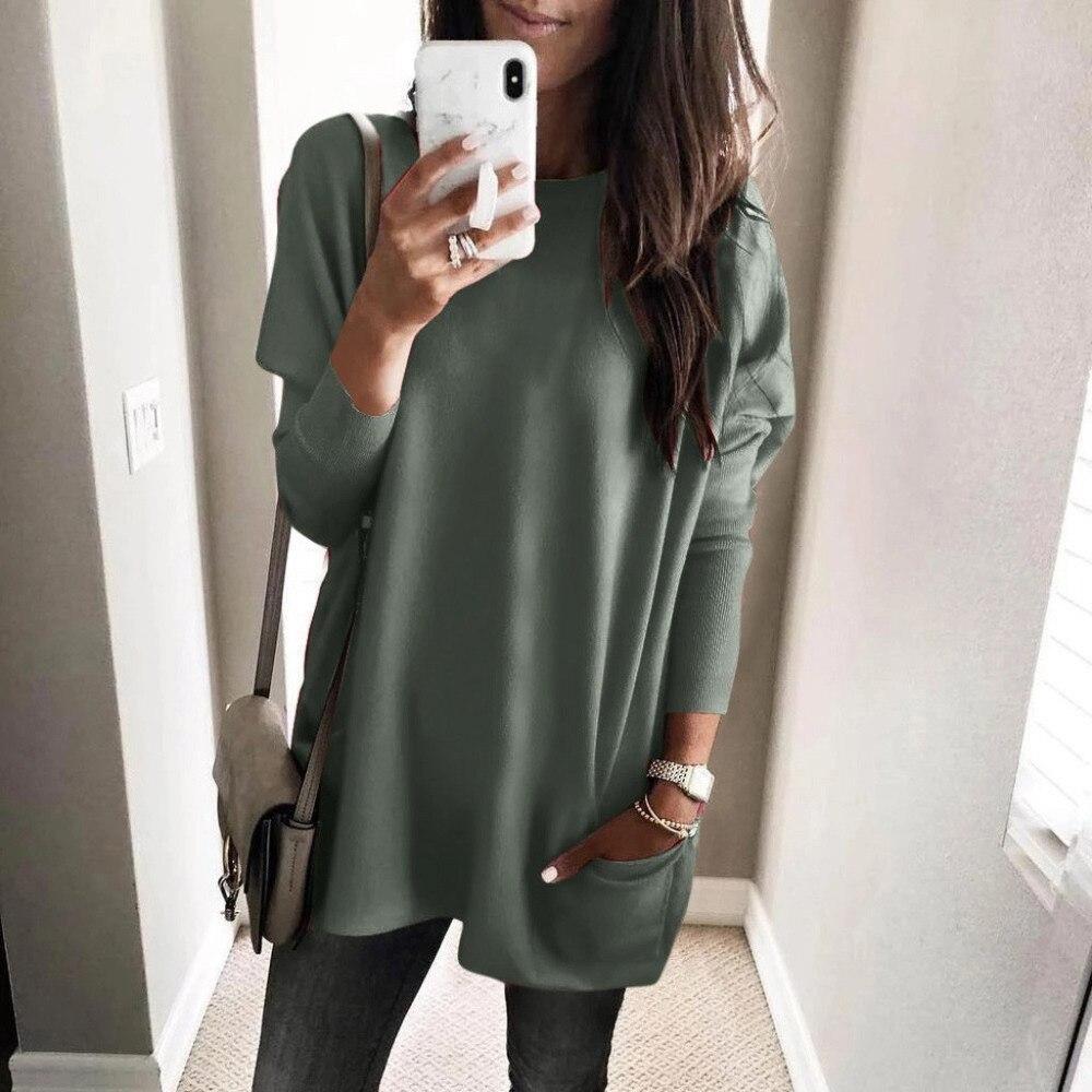 Womens Solid Warm Long Sleeve Sweatshirt Loose Pocket Daily Pullover Tops #4O08 (27)