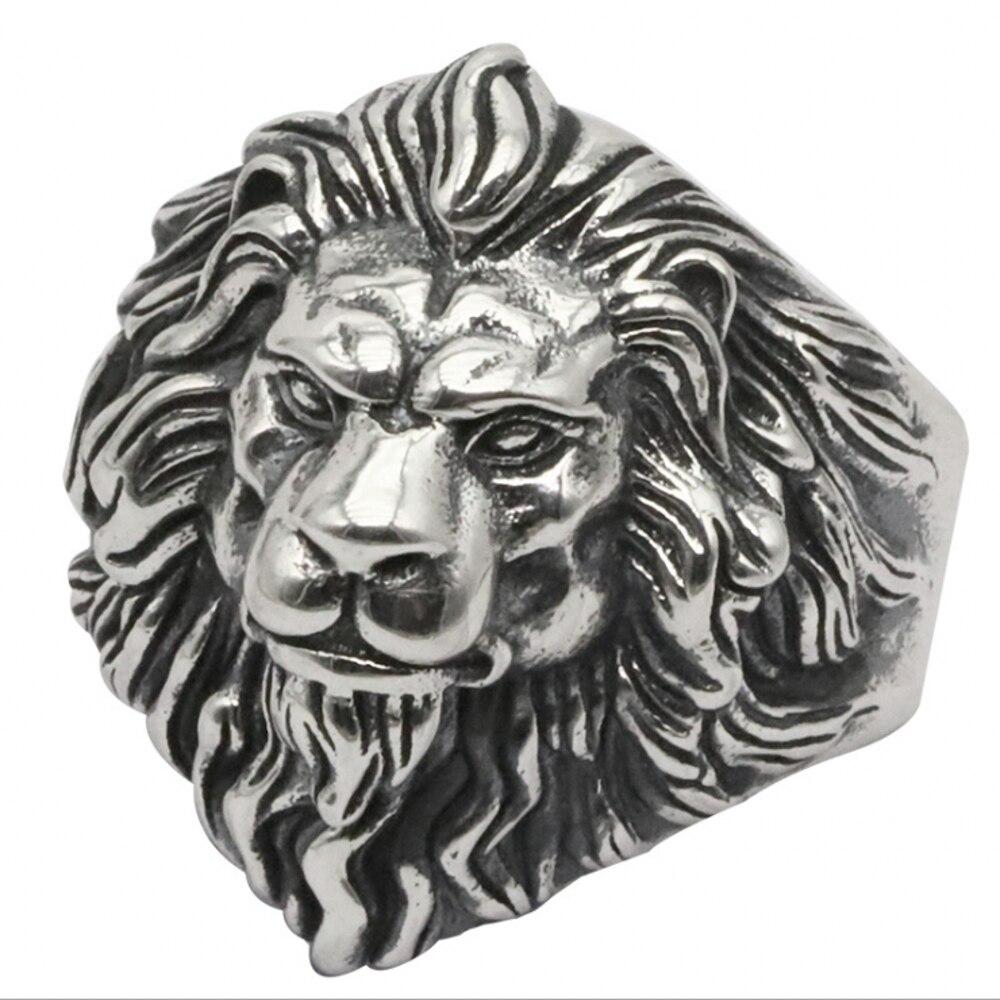 925 argent sterling bijoux de mode hommes personnalité anneaux vintage Thai argent lion tête réglable anneau - 6