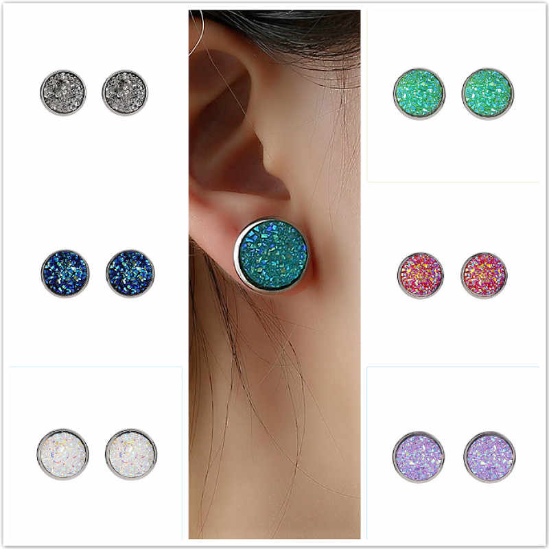 2019 New Hot Crystal Shine Ear Clip Earrings For Women 10 Colors Round With Cubic Zircon Charm Flower jewelry gift