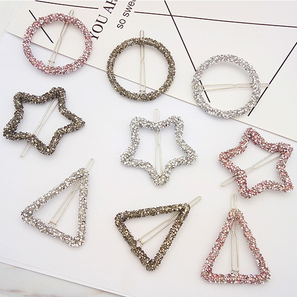 1Pcs Fashion Crystal Rhinestones Hair Clip Hairpin Star Triangle Round Shape Women Clips Barrettes Styling Accessories