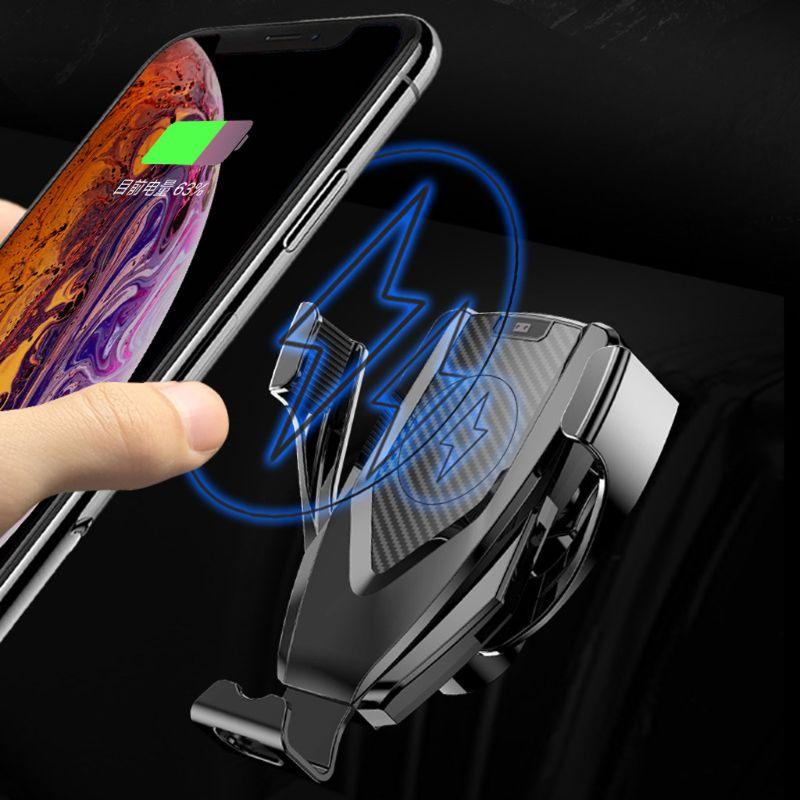 10W Qi sans fil rapide Charge support pour voiture évent support de montage pour iPhone 8 XS Max Samsung S9 S8 S7 Note 9 8 pour Huawei Mate 20 Pro