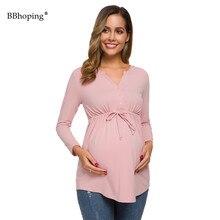 Женские топы для беременных с длинным рукавом и v-образным вырезом, с баской, с галстуком-баской, блузки на пуговицах, туника, Повседневная Осенняя рубашка, одежда для мамы