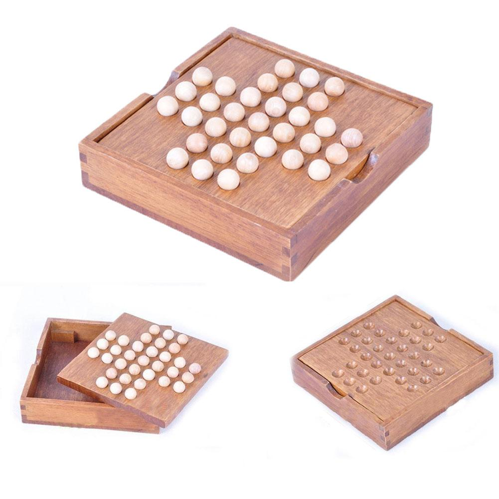 Wood Solitaire Chess Board Game Classical Intelligence Toy For Children Adults