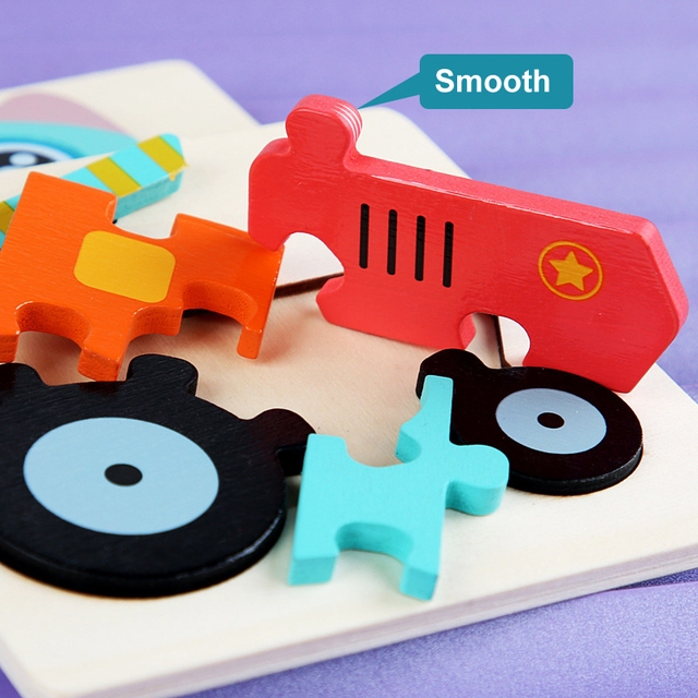 Kids Wooden Toys 3D Wood Puzzle Cartoon Animals Cognitive Jigsaw Puzzle Early Learning Educational Toys For Children Gift 4