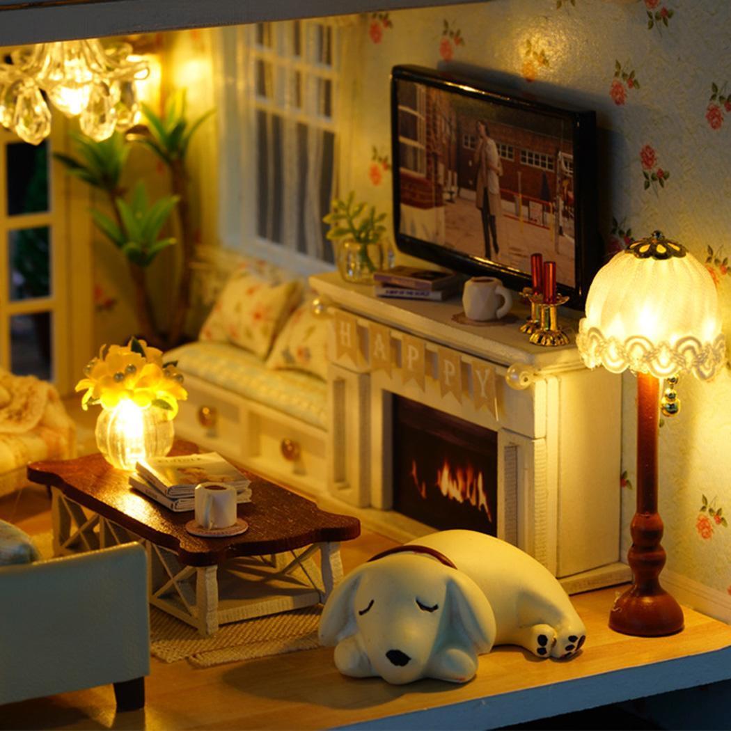 Miniature assemblé à la main en bois bricolage maison de poupée décorations, cadeaux, Placement à la maison, Collection environ 4 jours - 4