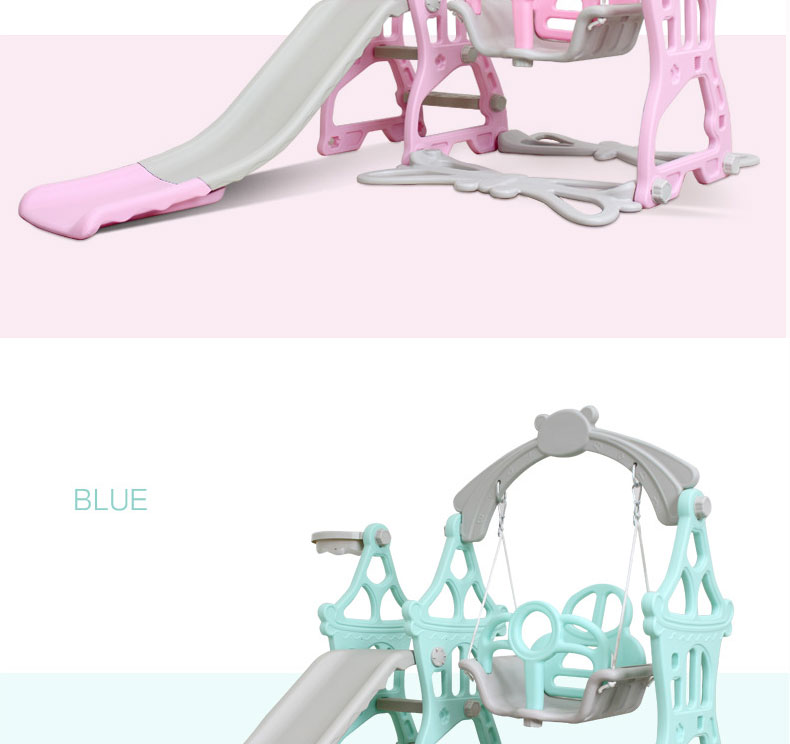 H2be08100e90b43559e7d4ba6ec521b80g 3 in 1 Baby Slides And Swing Chair Basketball Story Home Kids Playground Plastic Slides Set Toy Indoor Family Kindergarten