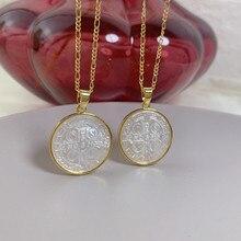 Moda redonda cruz pingente colar para mulher gargantilha figaro corrente mãe de pérola concha jóias