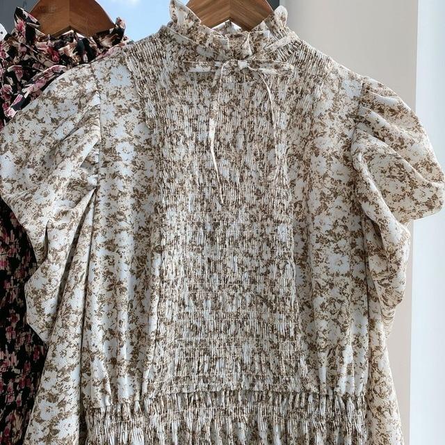 Kuzuwata Vintage Stand Collar Puff Sleeve Women Dress 2021 New Slim Waist Pleated Vestidos Mid Length Flower Print Dresses 6