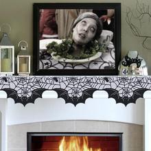 OurWarm Halloween Decoration Horror Black Lace Bats Spiders Mantle Scarf 20 x 80 Polyester Party Mantel