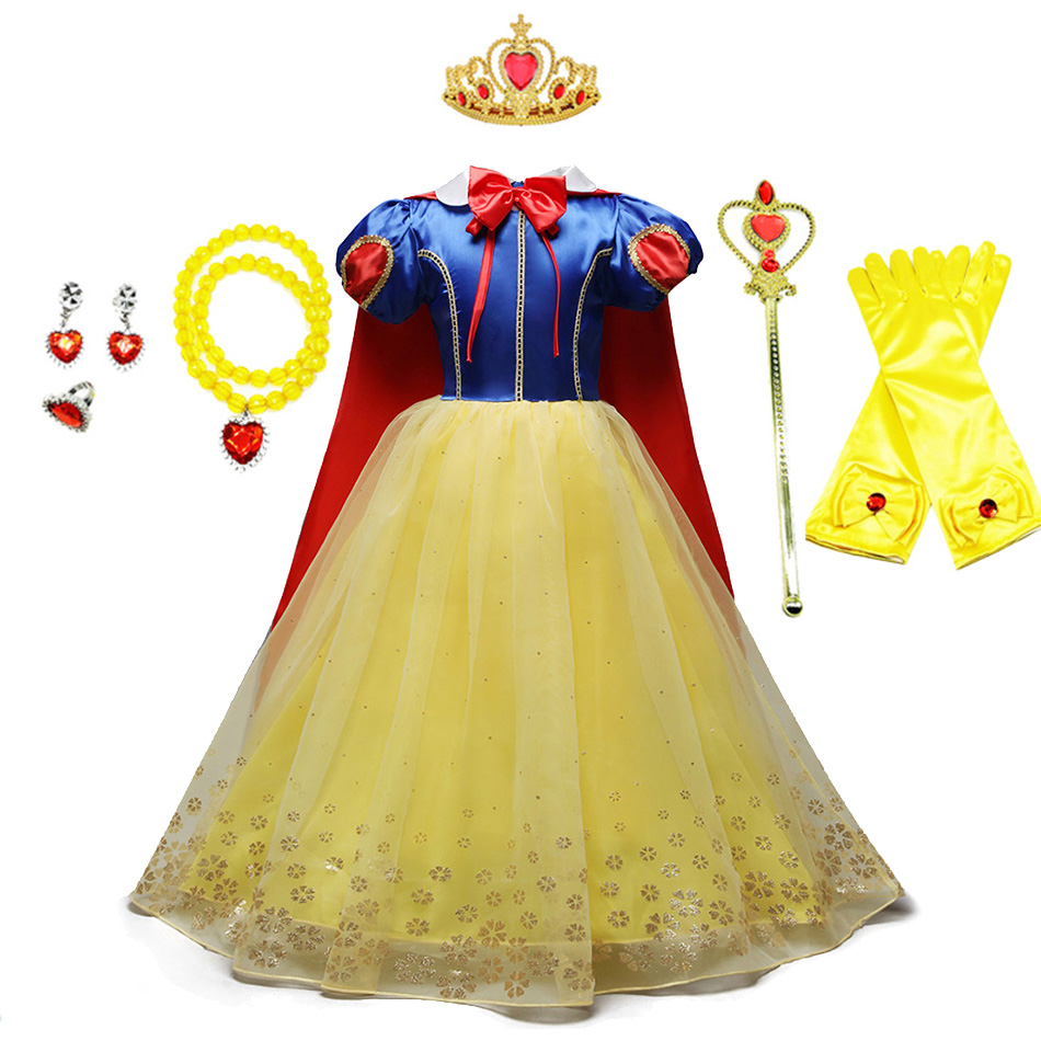 Little Girl Snow White Dress Kids Halloween Princess Costume Children Cosplay Birthday Party Gown with Long Cloak 3-10T Clothes
