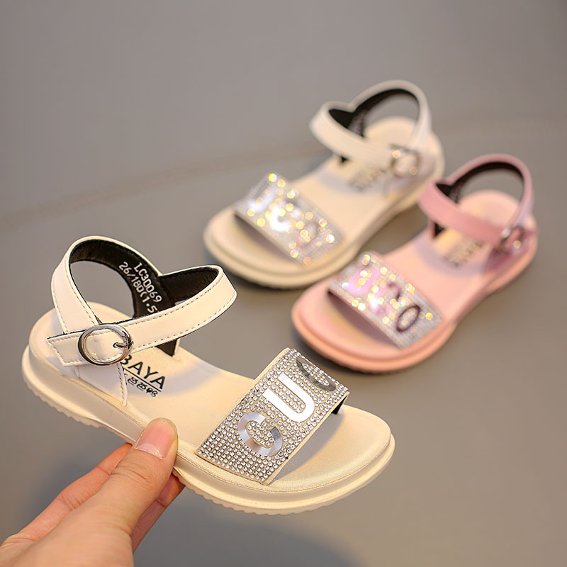 Babaya Girls Sandals Breathable Rhinestone Princess Shoes 2020 Summer New Style Children Girls Beach Sandals