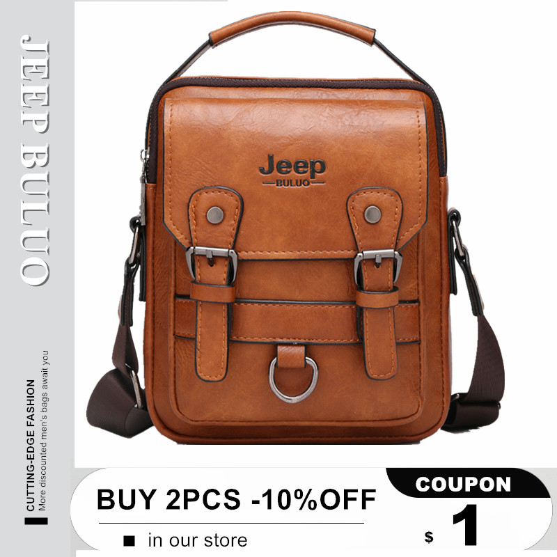 JEEP BULUO Brand New Man's Crossbody Shoulder Bag Multi-function Men Handbags Large Capacity Split Leather Bag For Man Travel(China)