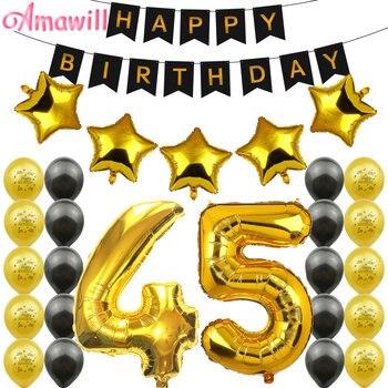Amawill 45 lat dekoracje na imprezę urodzinową dla dorosłych dla czarny baner urodzinowy balony foliowe gwiazda 12 cal lateksowy balon 7D