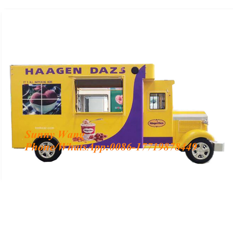 Electric Yellow Color Fast Food Mobile Food Trailer Mobile Food Cart Truck With Three Years Warranty
