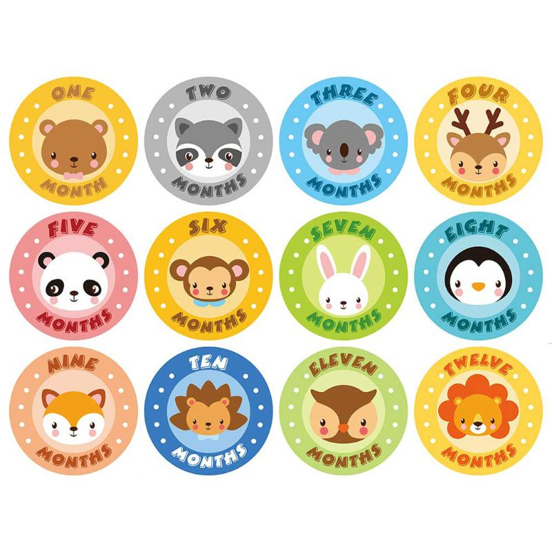 Baby Monthly Stickers,Baby First Year Month Age Growth Milestones Animal Stickers Unisex,1 To 12 Month
