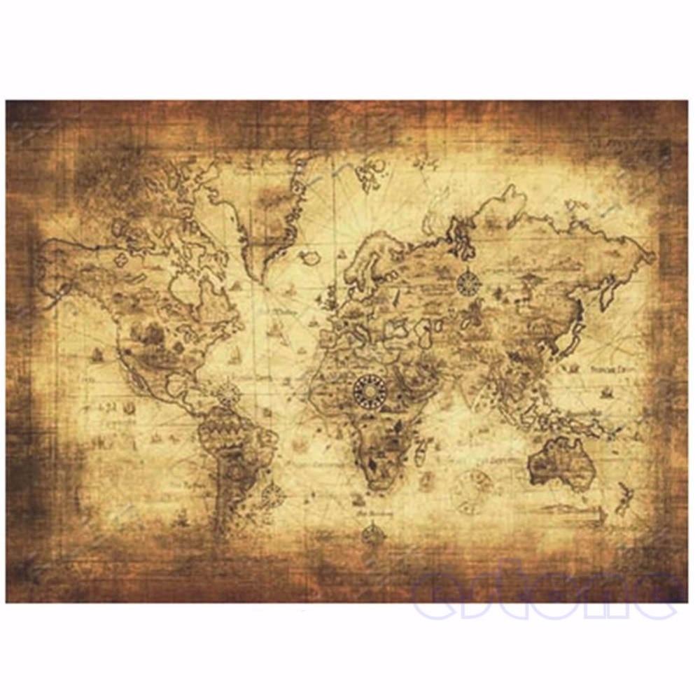 Большой бумажный ретро-постер 71x51 см в винтажном стиле, глобус, карта старого мира, подарки