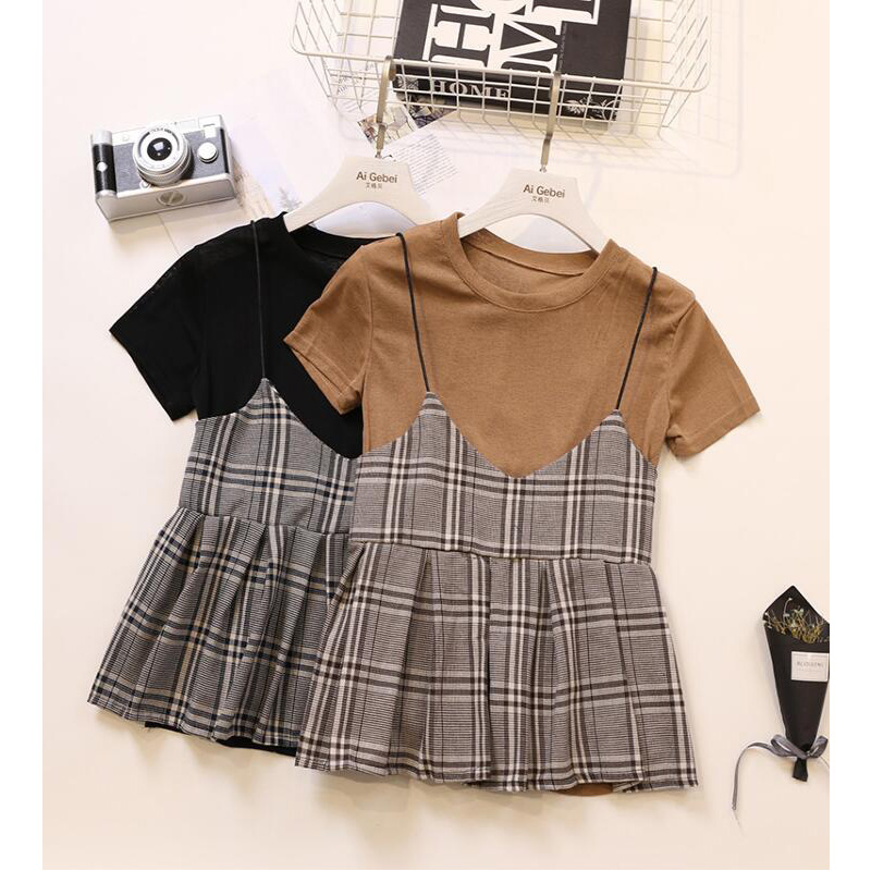 Spring Summer 2020 New Korean Version Fashion Short Sleeve T-shirt + Plaid Pleated Short Style Sling Two Sets Of Women HH174