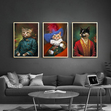 Vintage DIY Diamond Canvas Painting Cartoon Portrait Cardinal Cat Wall Art Embroidery Pictures For Living Room Decor General