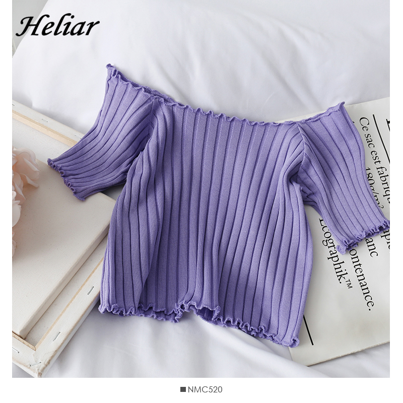 HELIAR Off Shoulder T-shirt 2020 Summer Women Skinny Knitting T-shirt Cotton Ladies Fashion Solid Short Sleeve T-shirts Women