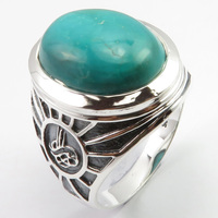 Solid Silver Turquoises Finger Men Ring Sz 10 Brand New Unique Designed
