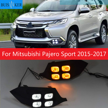 For Mitsubishi Pajero Sport 2015 2016 2017 4Eyes Super Brightness Car Accessories ABS 12V LED Daytime Running Light DRL Lamp