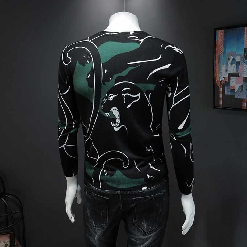 성격 인쇄 된 o-넥 긴 소매 망 풀오버 가을 새로운 얇은 컴포트 슬림 맞는 남성 캐주얼 뜨개질 스웨터 플러스 크기