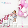 150 см розовые маленькие лошади, фольгированные воздушные шары-единороги, шары с гелием, единорог, украшения для дней рождения, товары, детски...