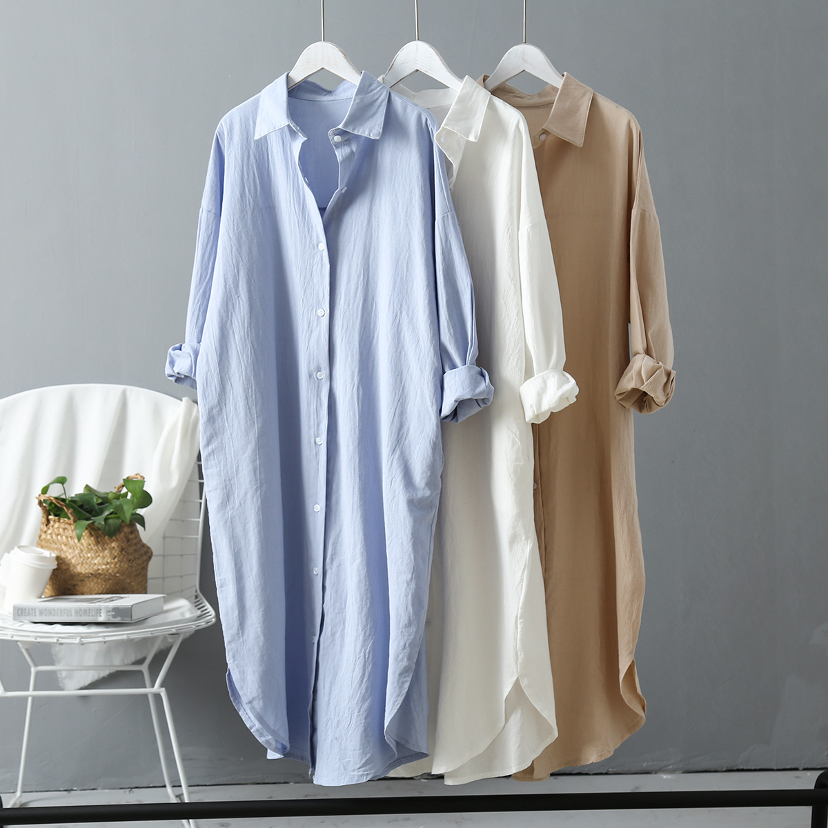Over-the-Knee Cotton Linen Shirt Women's 2020 Spring New Korean-style Womens Wear Plus Size Long Blouse In Stock