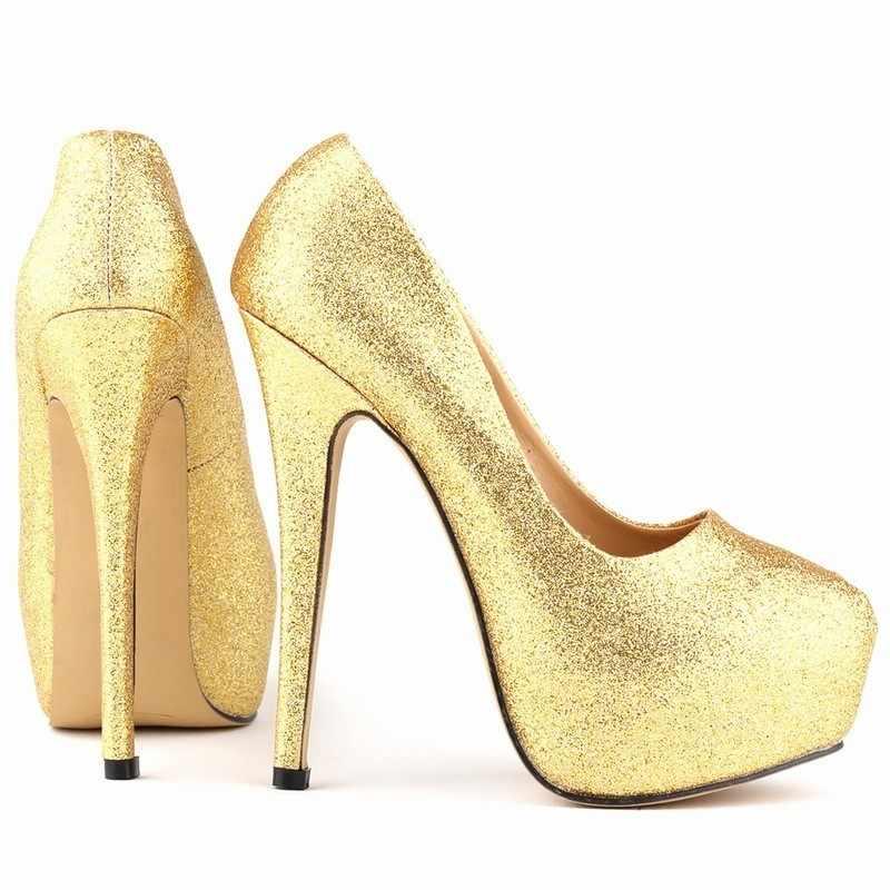 2020 Fashion Elegante Hoge Dunne Hak Platform Pompen Vrouwen Ronde Neus Slip Op Pailletten Jurk Schoenen Vrouw Chaussure Femme Plus size