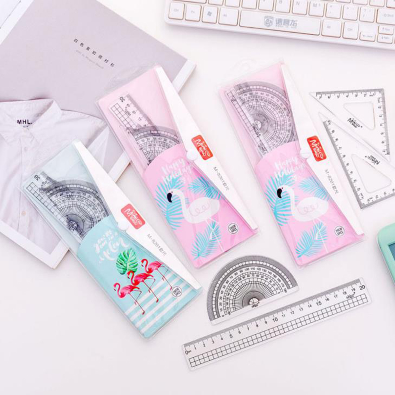 4 Pcs/set Cartoon Flamingo Printed Student Drawing School Square Protractor Rulers Set Stationery Straight Rulers Gifts