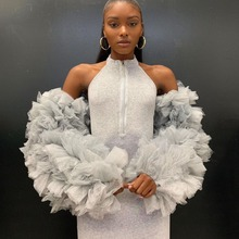 2020 Unique Tulle Ruffled Tops Custom Made Long Sleeves For Party Prom Eveing Dress Women Girls Fashion Tulle Accessories
