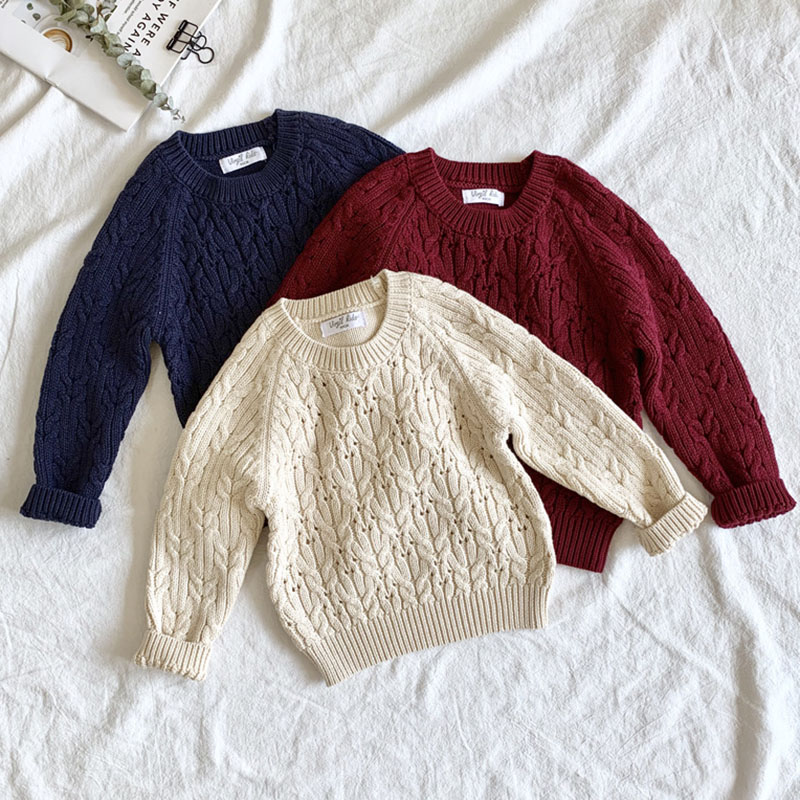 Autumn Winter Baby Kids Boys Long Sleeve Knit Sweater Baby Kids Boys Pure Color Pullover Sweaters Children's Clothes 1