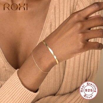 ROXI Minimalism INS pulseras de cadena de serpiente para Mujeres Hombres pulseras de oro/plata 925 joyería de plata esterlina pulsera de carrera
