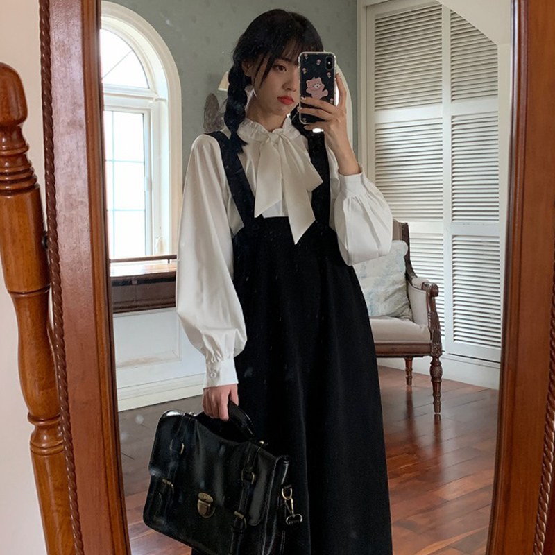 Осенний наряд с юбкой на бретелях, женское платье с длинным рукавом, дизайнерская нишевая юбка в стиле сказочной леди, супер сказочное ретро...