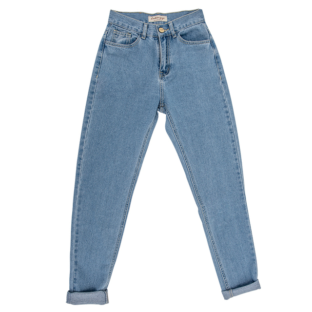 High Waist Plus Size Boyfriend Jeans for Women mom jeans cintura alta vintage Full Length Denim Jeans Pants