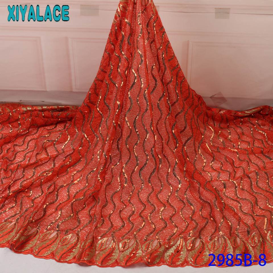 Latest Sequin Lace Fabric 2019 High Quality Sequence Organza Lace Fabric African Embroidery Laces For Wedding Dress KS2985B-8