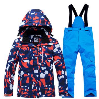 Kurtka narciarska spodnie dla dzieci chłopcy dziewczęta ubiory narciarskie ciepłe nieprzewiewne wodoodporna śnieg zestawy na świeżym powietrzu na świeżym powietrzu ubrania dla dzieci odzież narciarska tanie i dobre opinie ARCTIC QUEEN COTTON Poliester 1905A Kurtki Z kapturem Skiing Anty-pilling Anti-shrink Oddychające Wiatroszczelna