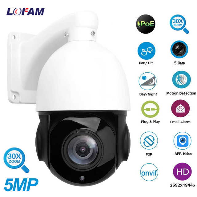 LOFAM IP PTZ Camera 5MP 2MP 80M IR Nightvision Mini Outdoor CCTV Security POE PTZ IPC Onvif Speed Dome 30X Zoom Network Camera